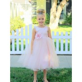 Blush Pink Tulle Rattail Edge Flower Girl Dress Pageant Recital 829S