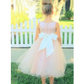 Blush Pink / Ivory Tulle Rattail Edge Flower Girl Dress Pageant Recital 829S