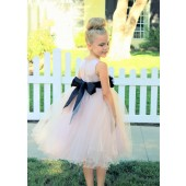 Blush Pink / Black Tulle Rattail Edge Flower Girl Dress Pageant Recital 829S