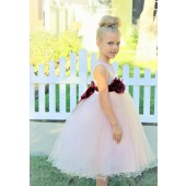 Blush Pink / Burgundy Tulle Rattail Edge Flower Girl Dress Pageant Recital 829S