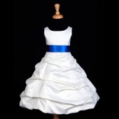 Ivory/Royal Blue Satin Pick-Up Bubble Flower Girl Dress V2 806S