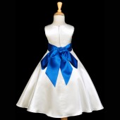 Ivory/Royal Blue A-Line Satin Flower Girl Dress Pageant Reception 821S