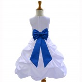 White/Royal Blue Satin Pick-Up Bubble Flower Girl Dress Wedding 808T