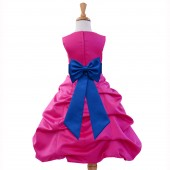 Fuchsia/Royal Blue Satin Pick-Up Bubble Flower Girl Dress Elegant 808T