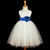 White/Royal Blue Satin Tulle Flower Girl Dress Wedding Pageant 831S