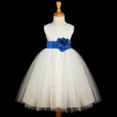 Ivory/Royal Blue Satin Tulle Flower Girl Dress Wedding Pageant 831S