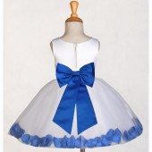 White/Royal Blue Rose Petals Tulle Flower Girl Dress Wedding 305T
