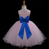 Pink/Royal Blue Tulle Rattail Edge Flower Girl Dress Fairy Princess 829T