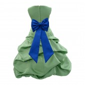 Clover/Royal blue Satin Pick-Up Bubble Flower Girl Dress Christmas Easter 808T