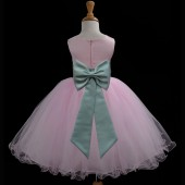 Pink/Sage Tulle Rattail Edge Flower Girl Dress Fairy Princess 829T