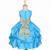Turquoise/Sage Satin Pick-Up Flower Girl Dress Receptions 208T