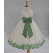 Ivory/Sage Tulle Rose Petals Flower Girl Dress Pageant 302T