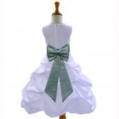 White/Sage Satin Pick-Up Bubble Flower Girl Dress Wedding 808T