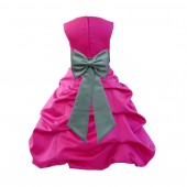 Fuchsia/Sage Satin Pick-Up Bubble Flower Girl Dress Christmas Easter 808T