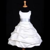 Ivory/Silver Satin Pick-Up Bubble Flower Girl Dress V2 806S