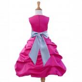 Fuchsia/Silver Satin Pick-Up Bubble Flower Girl Dress Elegant 806S