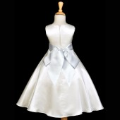 Ivory/Silver A-Line Satin Flower Girl Dress Pageant Reception 821S