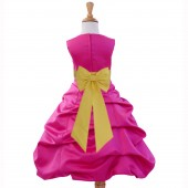 Fuchsia/Sunbeam Satin Pick-Up Bubble Flower Girl Dress Elegant 808T