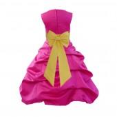 Fuchsia/Sunbeam Satin Pick-Up Bubble Flower Girl Dress Christmas Easter 808T
