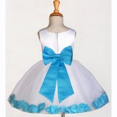 White/Turquoise Rose Petals Tulle Flower Girl Dress Wedding 305T