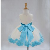 Ivory/Turquoise Tulle Rose Petals Knee Length Flower Girl Dress 306S