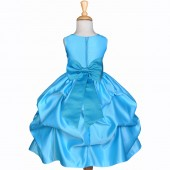 Turquoise/Turquoise Satin Pick-Up Flower Girl Dress Receptions 208T
