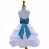 White/Turquoise Satin Pick-Up Bubble Flower Girl Dress Wedding 808T