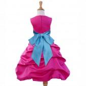 Fuchsia/Turquoise Satin Pick-Up Bubble Flower Girl Dress Elegant 806S
