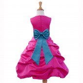 Fuchsia/Turquoise Satin Pick-Up Bubble Flower Girl Dress Elegant 808T