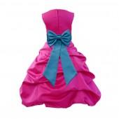 Fuchsia/Turquoise Satin Pick-Up Bubble Flower Girl Dress Christmas Easter 808T