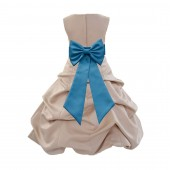 Champagne/Turquoise Satin Pick-Up Bubble Flower Girl Dress Special Occasion 808T