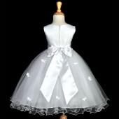 White Butterflies Tulle Flower Girl Dress Elegant Pageant 509S