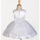 White/White Rose Petals Tulle Flower Girl Dress Wedding 305T