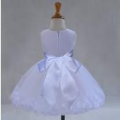 White/White Tulle Rose Petals Knee Length Flower Girl Dress 306S
