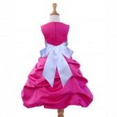 Fuchsia/White Satin Pick-Up Bubble Flower Girl Dress Elegant 806S