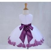 White/Wisteria Tulle Rose Petals Knee Length Flower Girl Dress 306S
