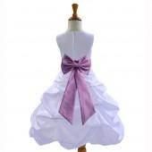 White/Wisteria Satin Pick-Up Bubble Flower Girl Dress Wedding 808T