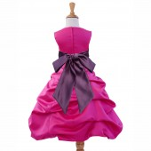Fuchsia/Wisteria Satin Pick-Up Bubble Flower Girl Dress Elegant 806S
