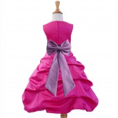 Fuchsia/Wisteria Satin Pick-Up Bubble Flower Girl Dress Elegant 808T