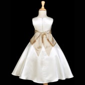 Ivory/Yellow A-Line Satin Flower Girl Dress Pageant Reception 821S
