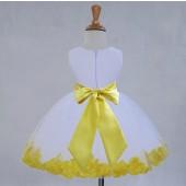 White/Yellow Tulle Rose Petals Knee Length Flower Girl Dress 306S