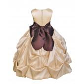 Champagne/Brown Satin Taffeta Pick-Up Bubble Flower Girl Dress 301S