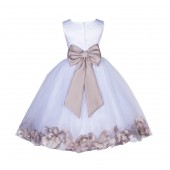 White/Biscotti Lace Top Tulle Floral Petals Flower Girl Dress 165T
