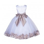 White/Biscotti Lace Top Tulle Floral Petals Flower Girl Dress 165S