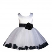 White/Black Rose Petals Tulle Flower Girl Dress Wedding 305S