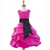 Fuchsia/Black Satin Pick-Up Bubble Flower Girl Dress V2 806S