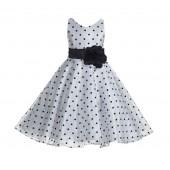 White / Black / Black Organza Polka Dot V-Neck Flower Girl Dress 184T