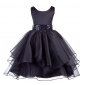 Black Asymmetric Ruffled Organza Sequin Flower Girl Dress 012S