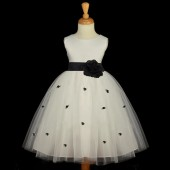 Black Rosebuds Satin Tulle Flower Girl Dress Special Occasions 815S