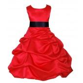Red/Black Satin Pick-Up Bubble Flower Girl Dress Christmas 806S